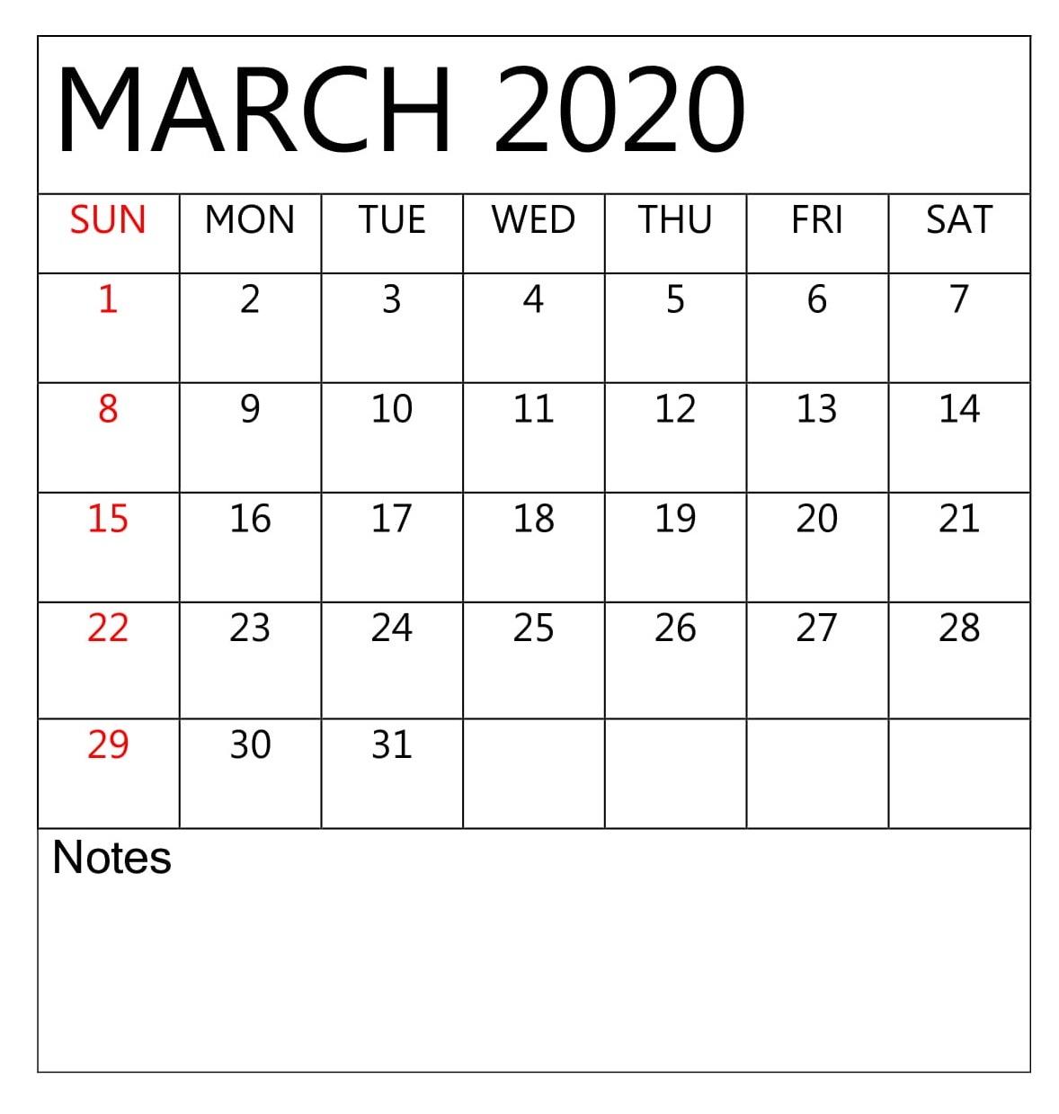 Editable March 2020 Calendar | Calendar 2019