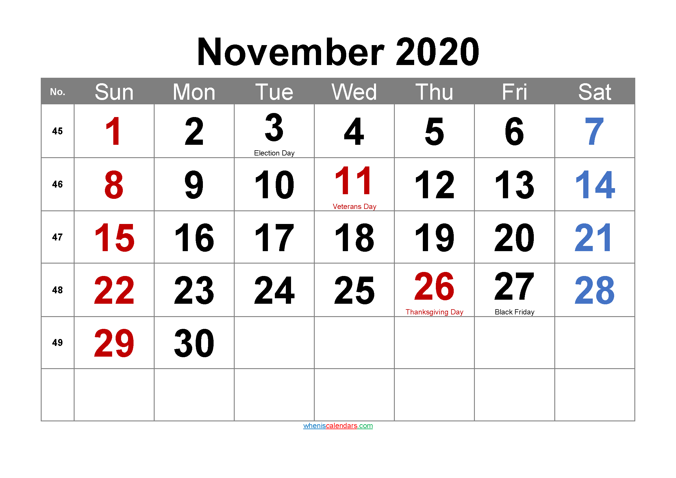 Editable November 2020 Calendar With Holidays-Template No