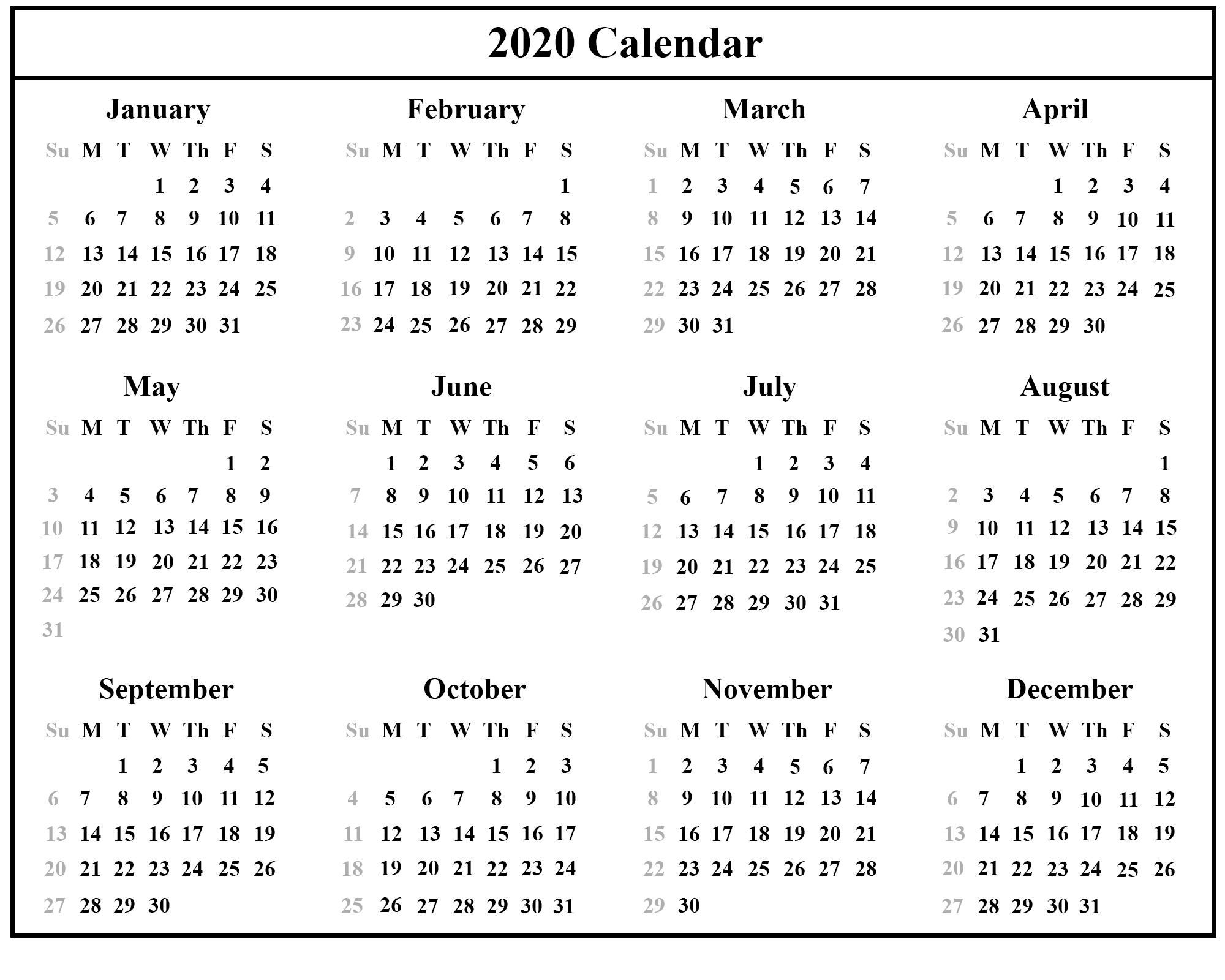 Employee Vacation Calendar Template 2020 Printable Free