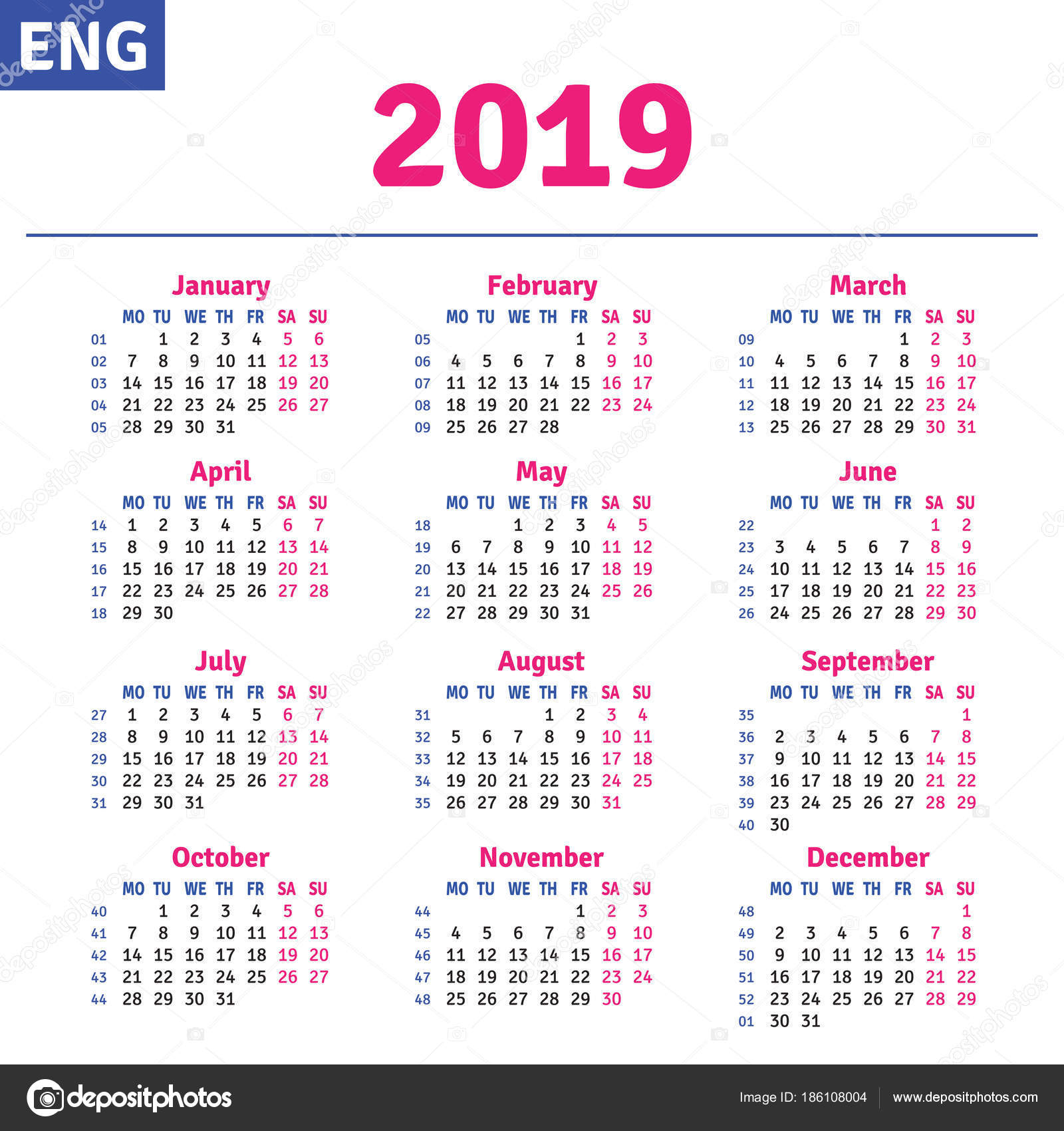 English Calendar 2019 — Stock Vector © Rustamank #186108004