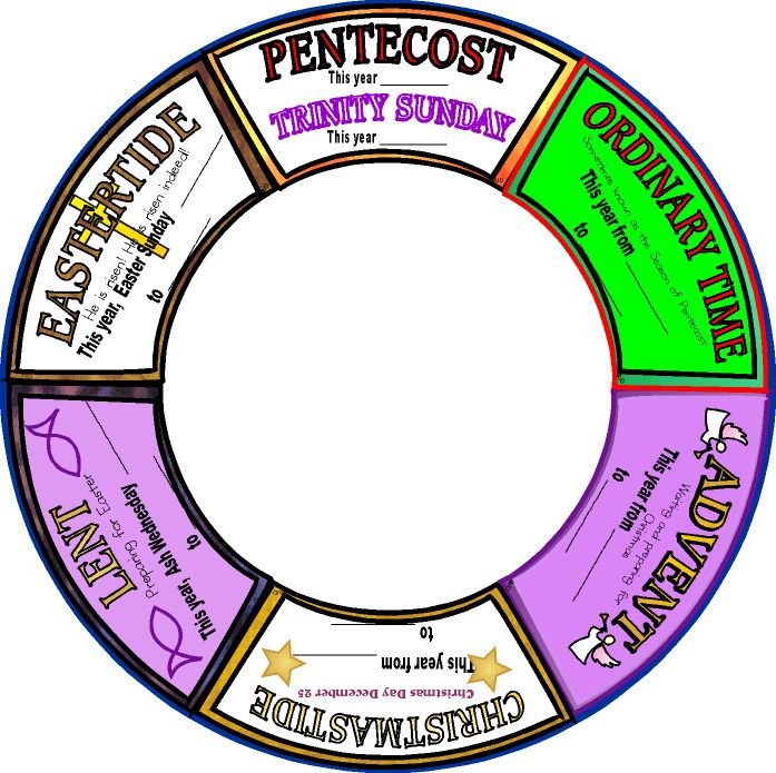 Faith Sunday School Kids Liturgical Seasons Wheel, Seasons