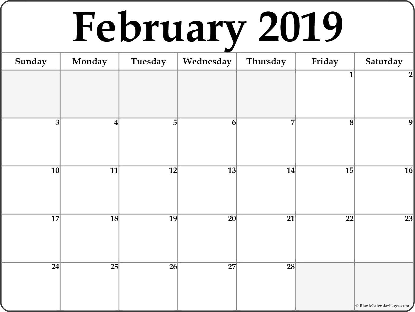 February 2019 Blank Calendar Templates.