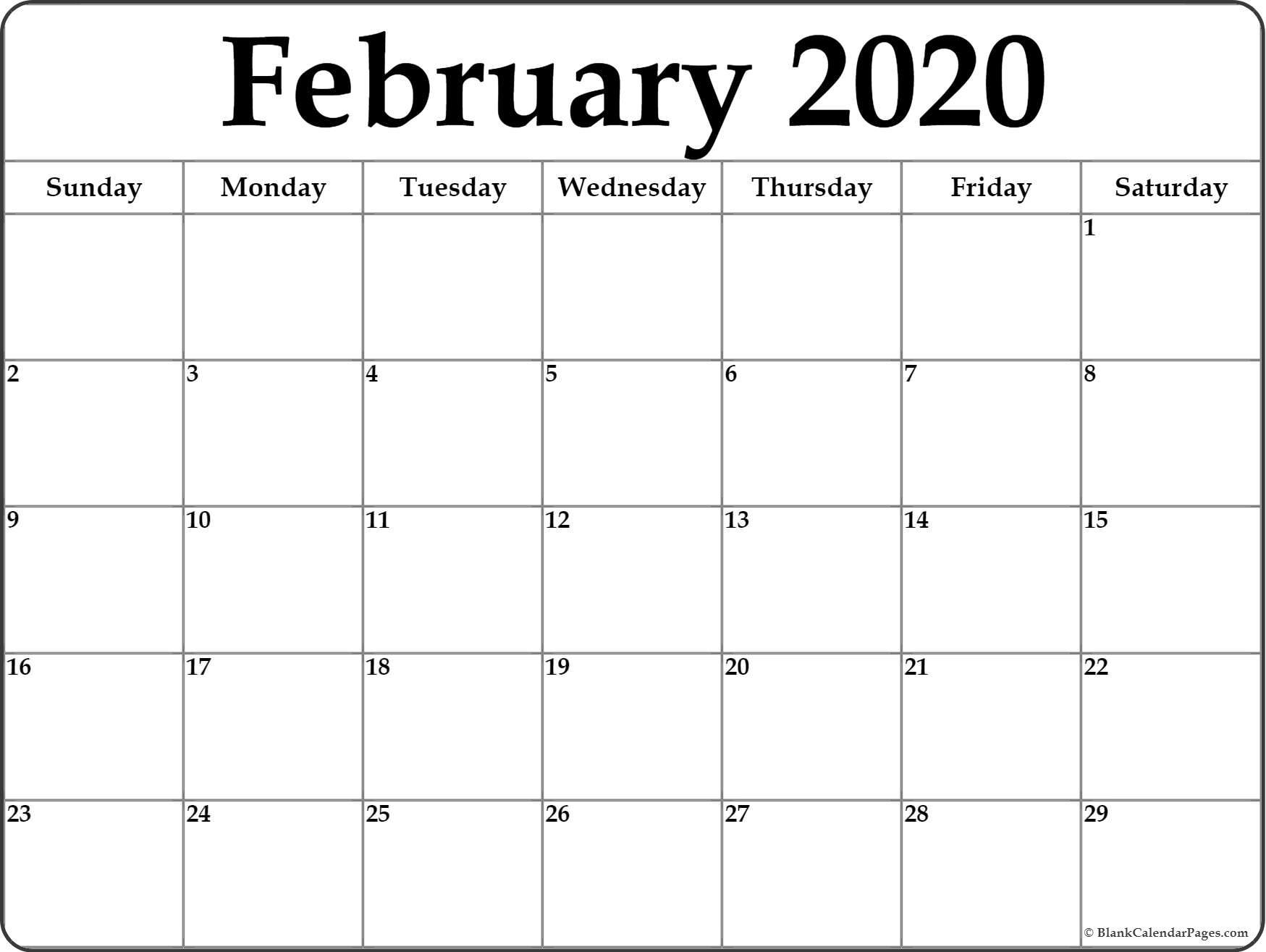 February 2020 Calendar   Free Printable Monthly Calendars