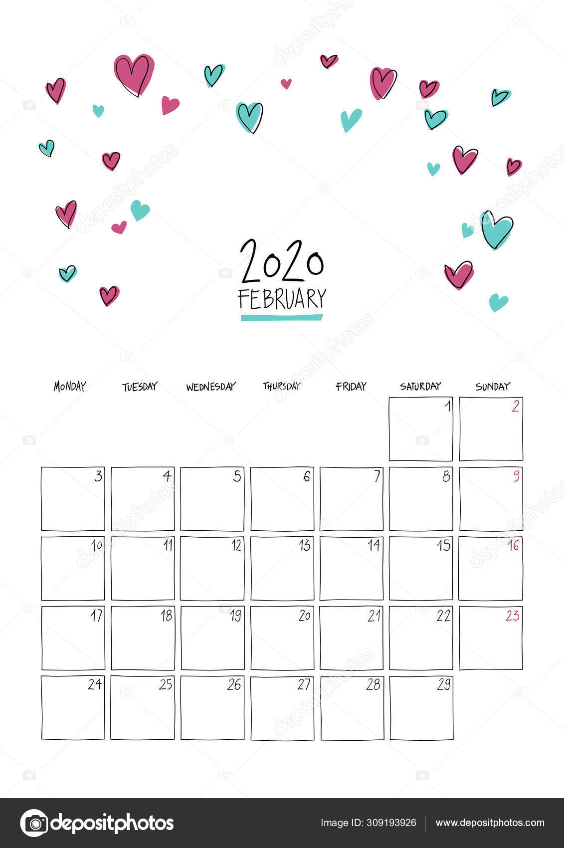 February 2020 Doodle Wall Calendar. — Stock Vector