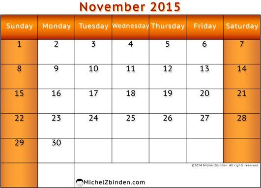Feel Free To Download Nov 2015 Printable Calendar And