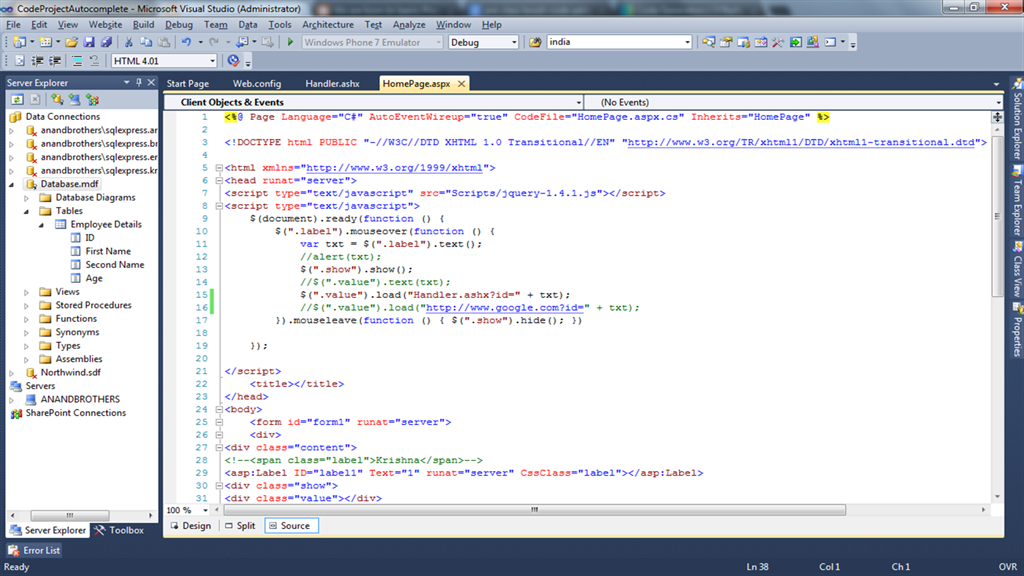 Fetching Record From Database Using Mouseover Event Of Jquery