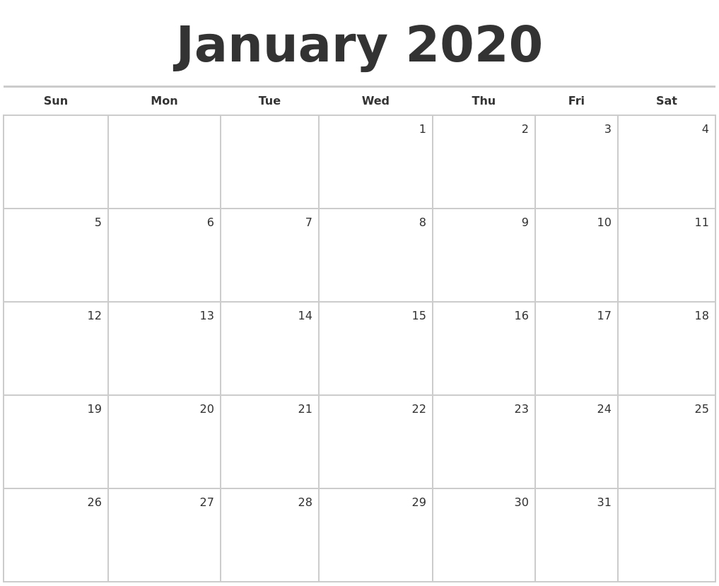 Fill In Monthly Calendar 2020 | Example Calendar Printable