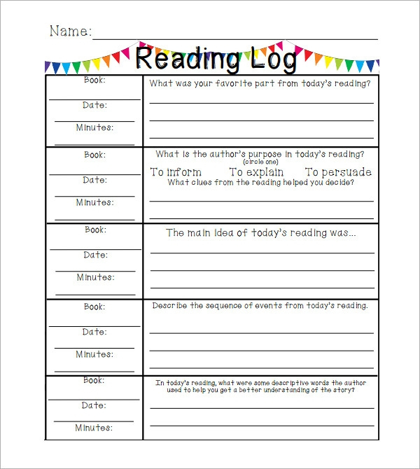 Free 12+ Sample Reading Log Templates In Pages | Pdf | Ms Word