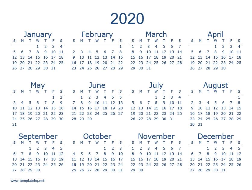 Free 2020 Calendar (Template & Printable) - Calendar