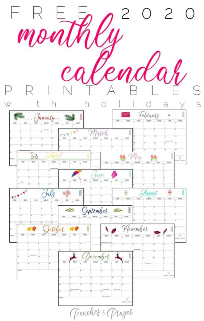 Free 2020 Monthly Calendar Printables {Two Options
