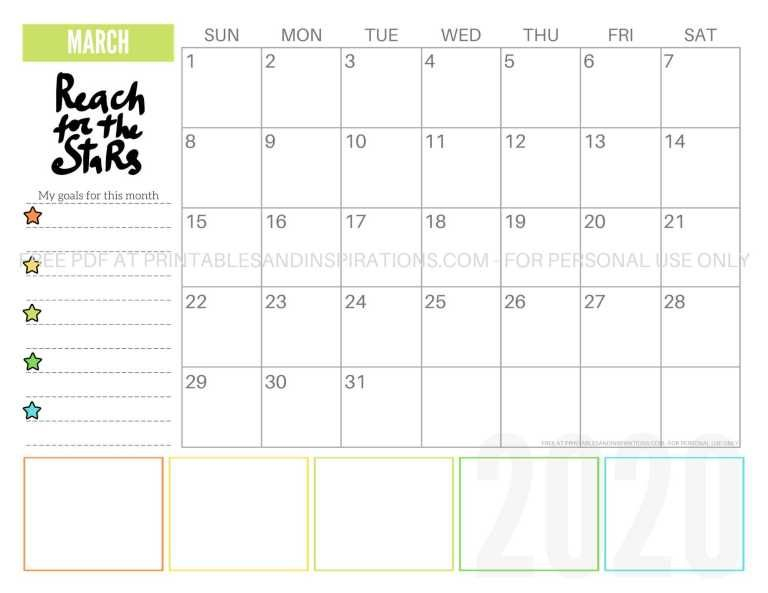Free 2020 Monthly Goals Calendar Printable | Goal Calendar