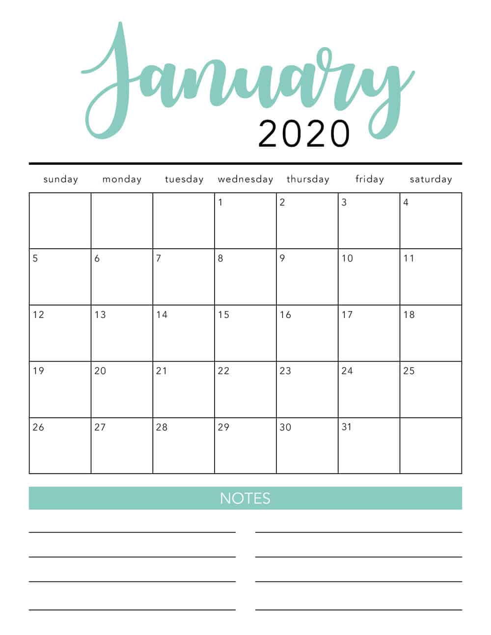 Free 2020 Printable Calendar Template (2 Colors!) - I