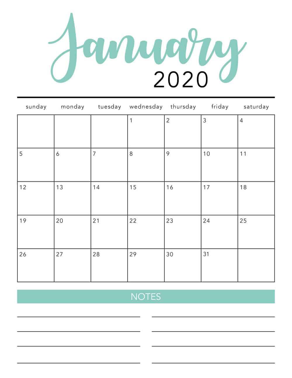 Free 2020 Printable Calendar Template (2 Colors!) - I