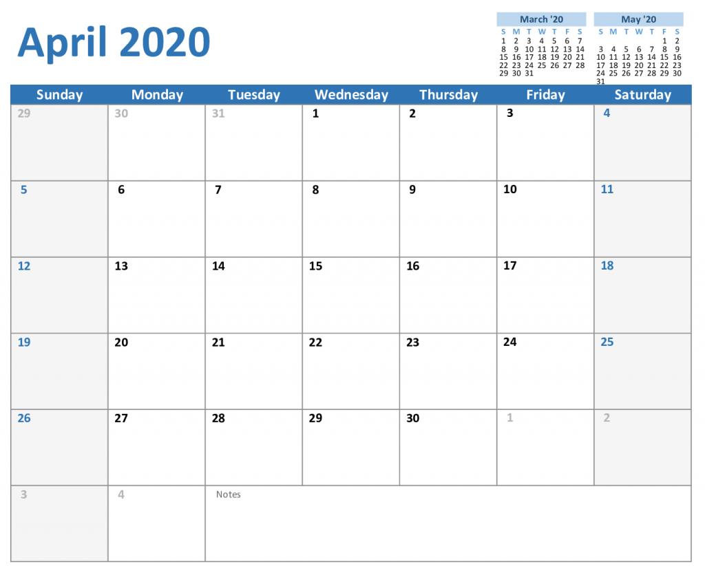 Free April 2020 Calendar In Pdf Word Excel Format