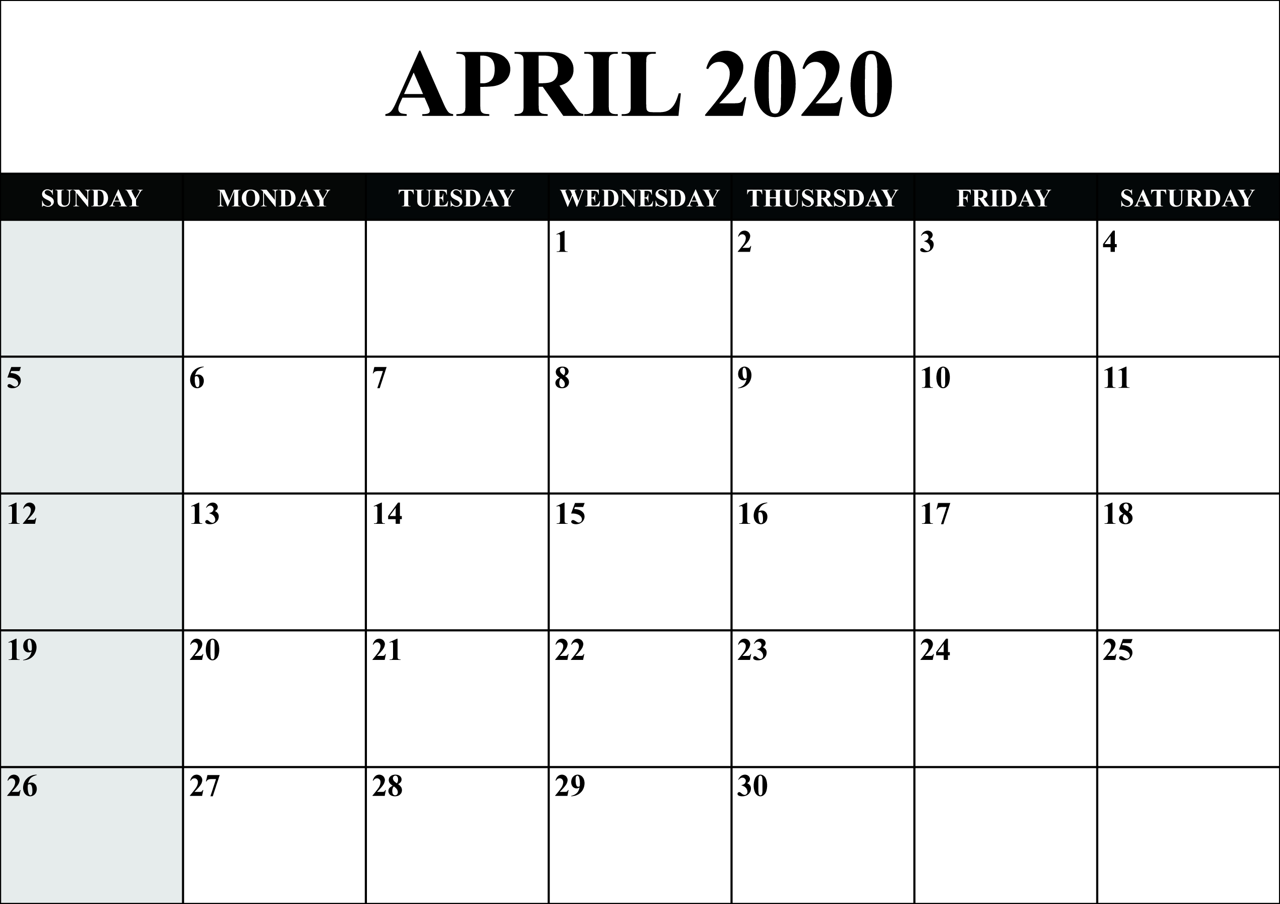 Free Blank April 2020 Calendar Printable In Pdf, Word, Excel