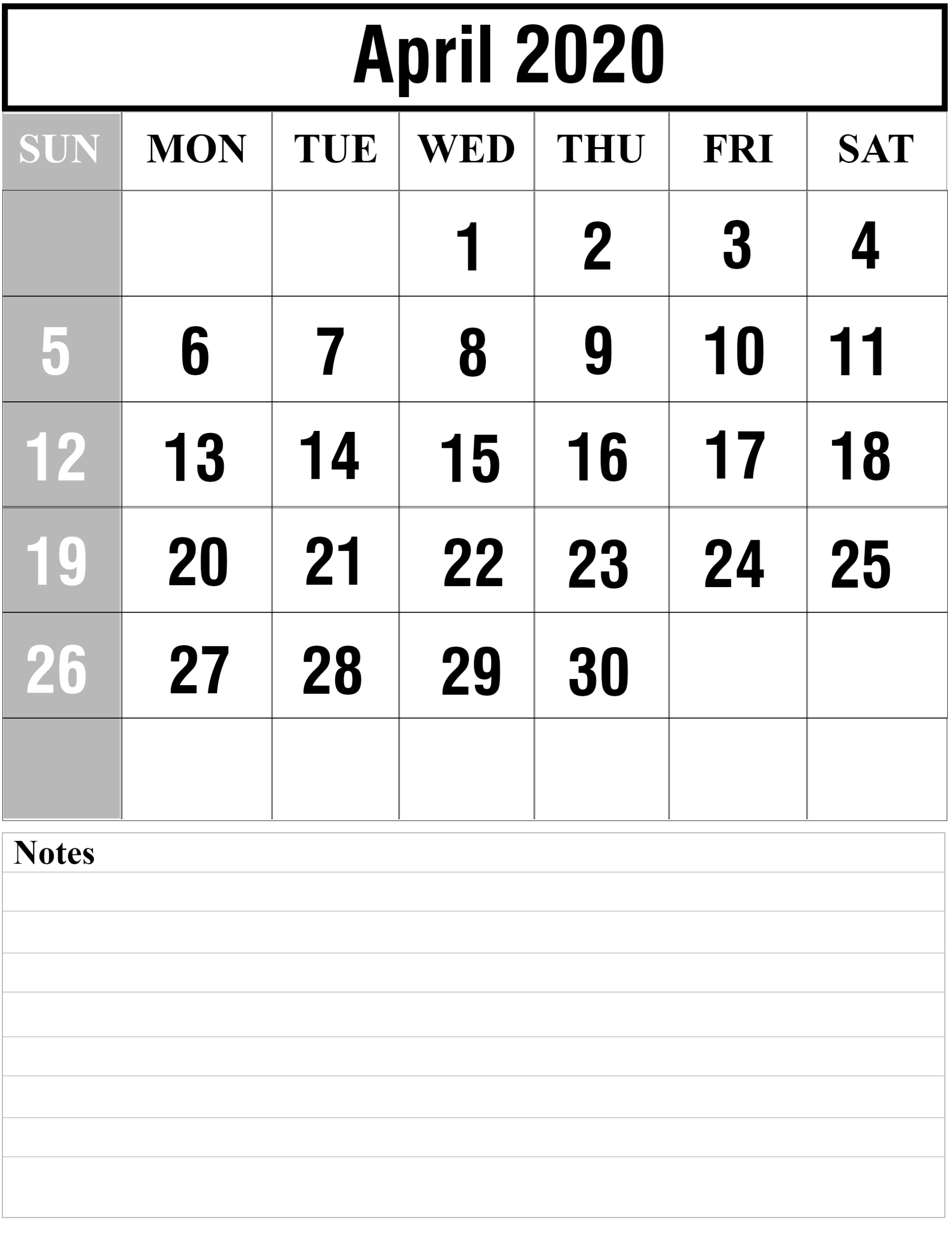 Free Blank April 2020 Printable Calendar [Pdf, Excel