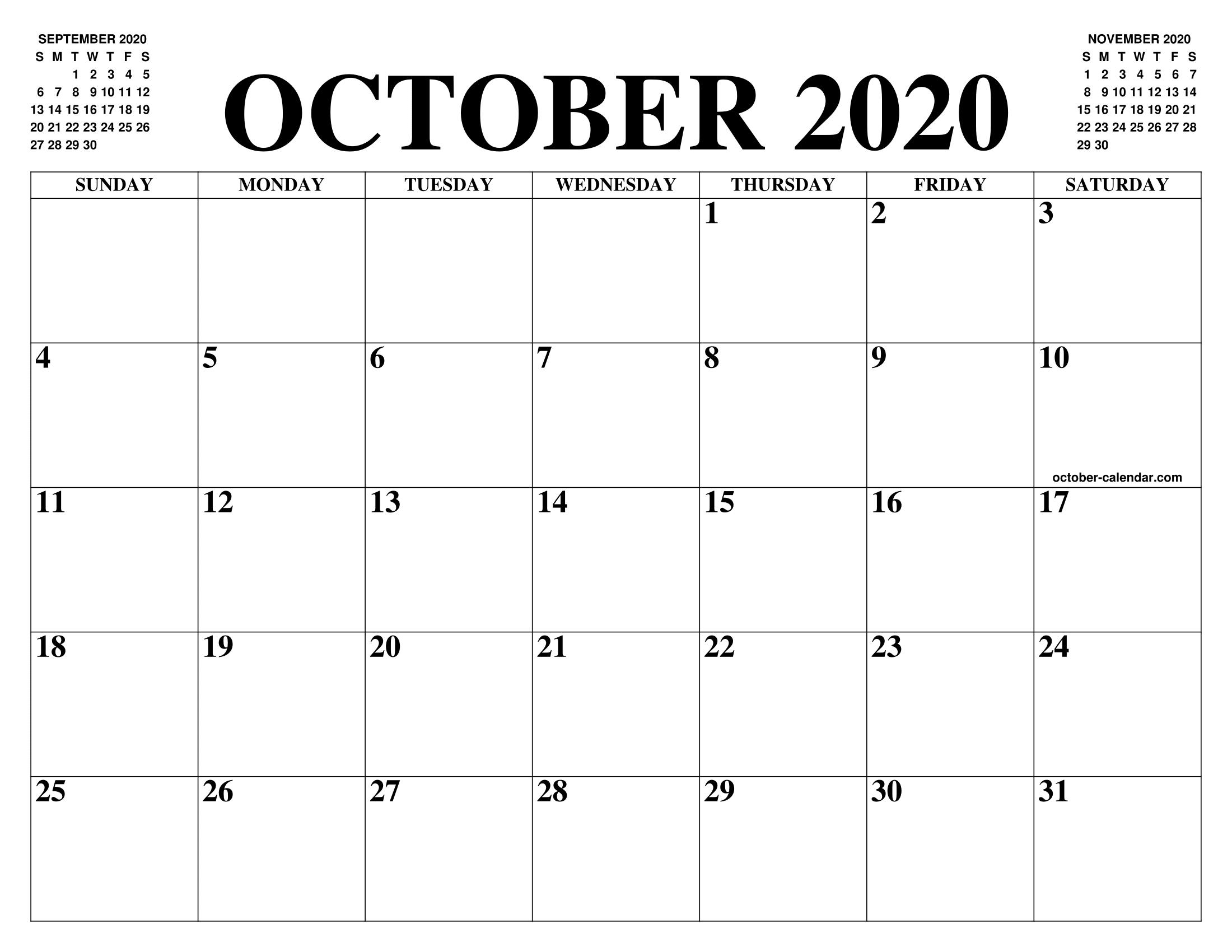 Free Blank Calendar For October 2020 Printable Fillable