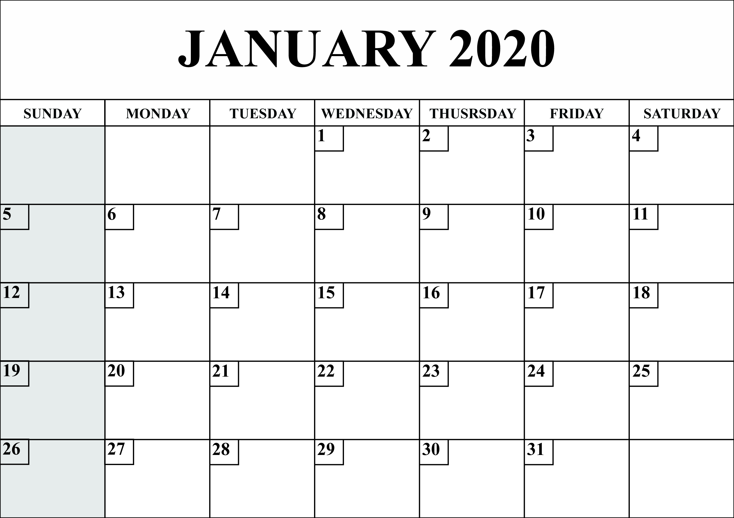 Free Blank January 2020 Calendar Printable In Pdf, Word, Excel
