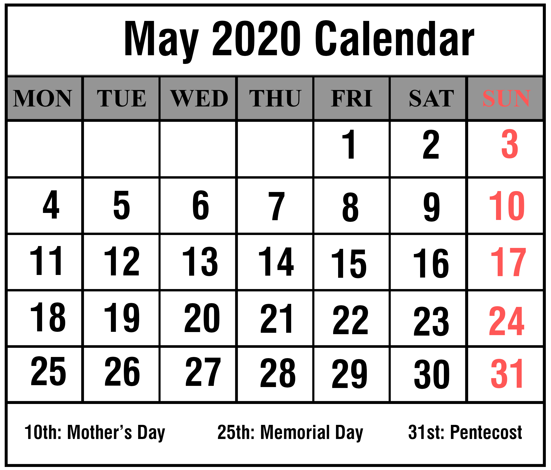 Free Blank May 2020 Printable Calendar [Pdf, Excel & Word]