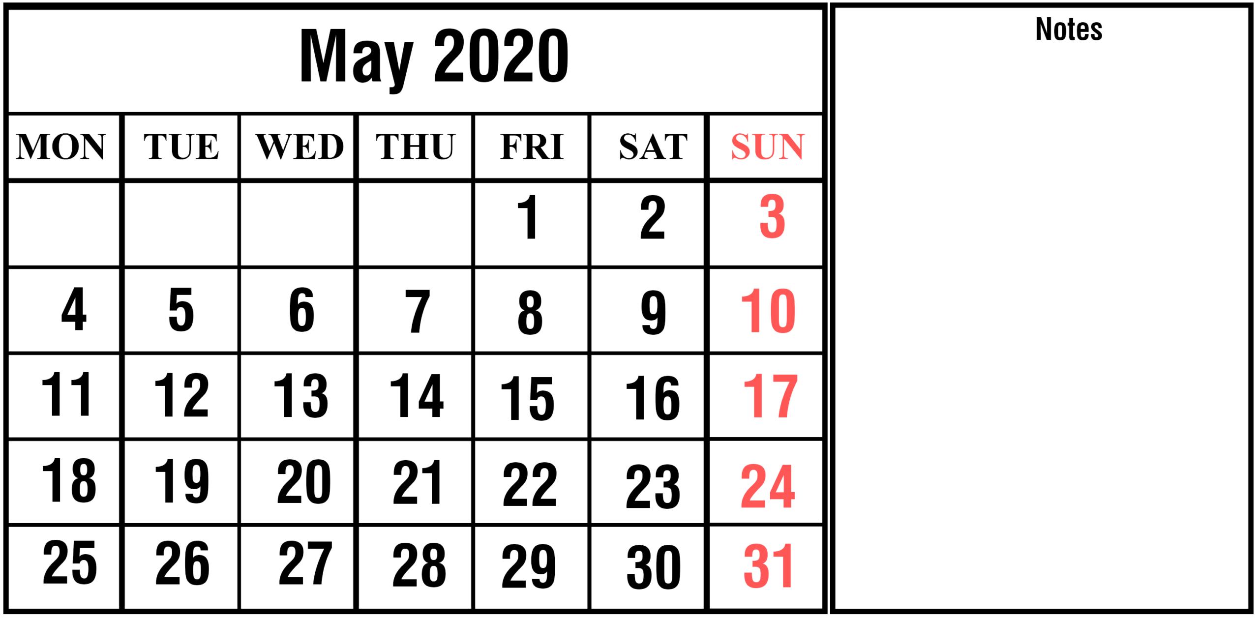 Free Blank May 2020 Printable Calendar [Pdf, Excel & Word]