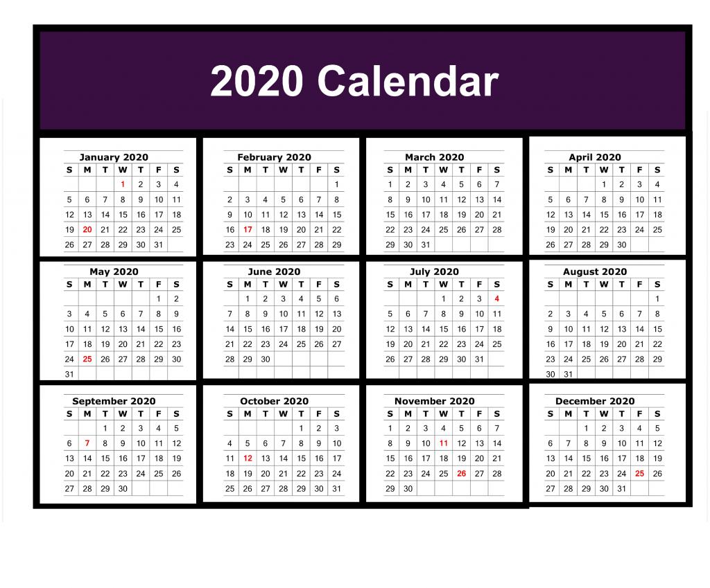 Free Blank Printable Calendar 2020 Template In Pdf, Excel