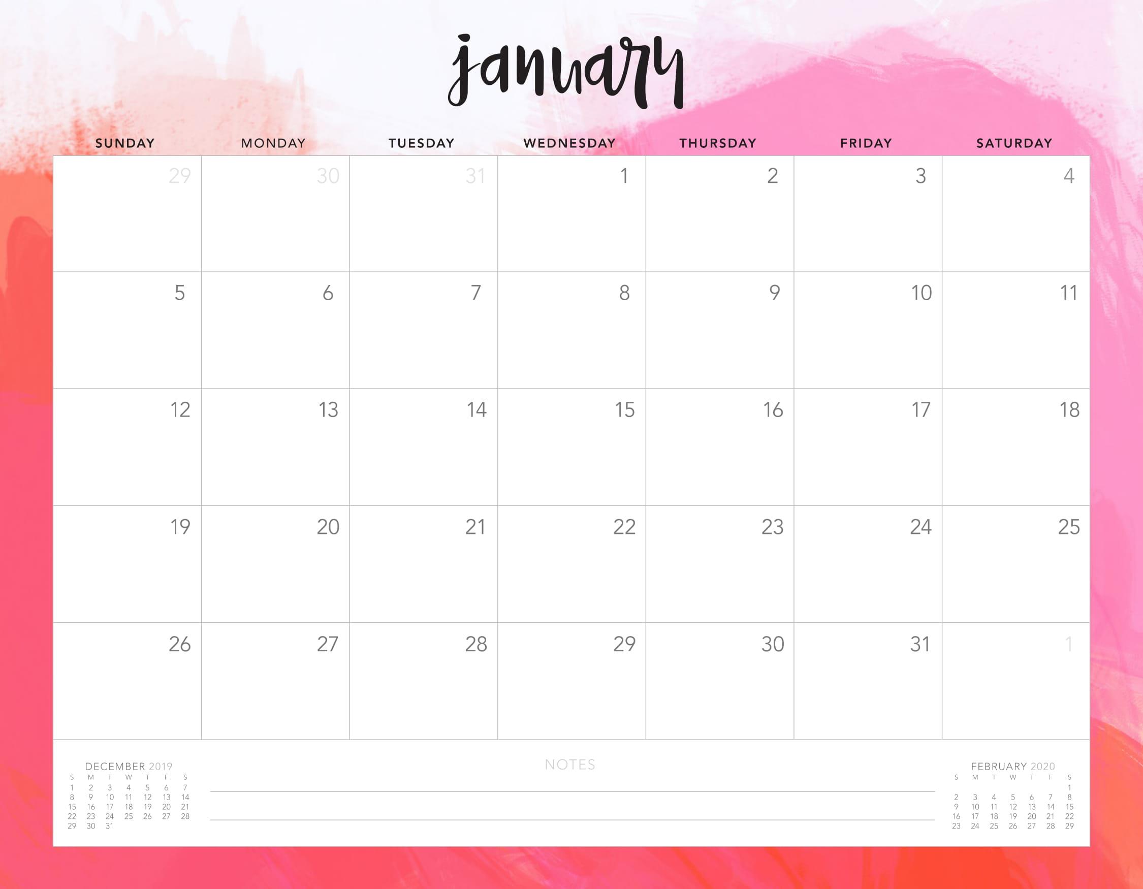 Free Calendar For January 2020 Editable | Free Printable