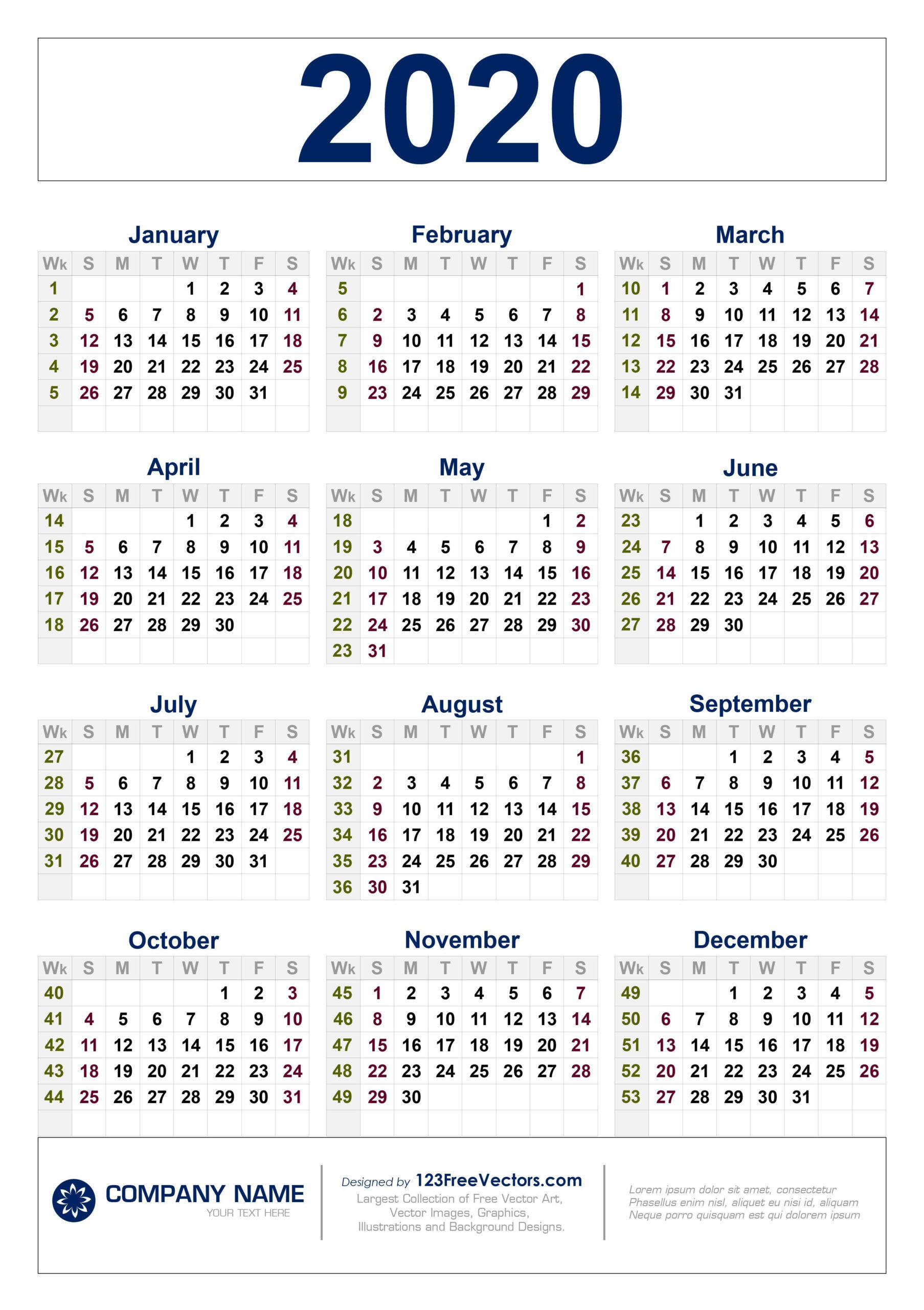 Free Download 2020 Calendar With Week Numbers, #Calendar #