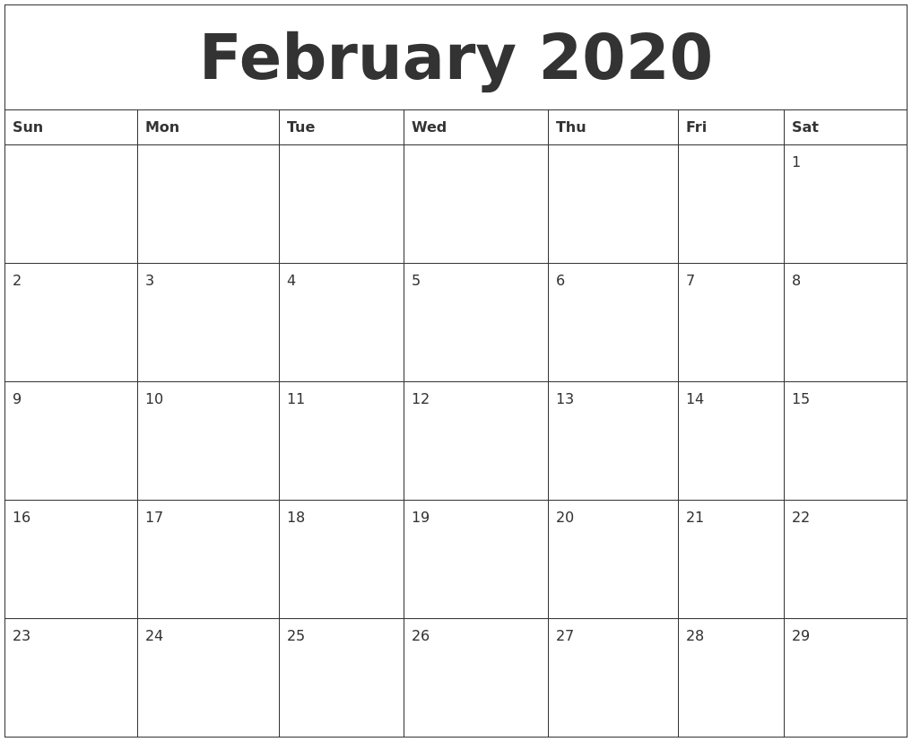 Free February 2020 Calendar Printable (Leap Year) - Blank
