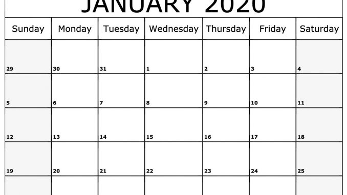 Free Fillable January Calendar 2020 Printable Editable