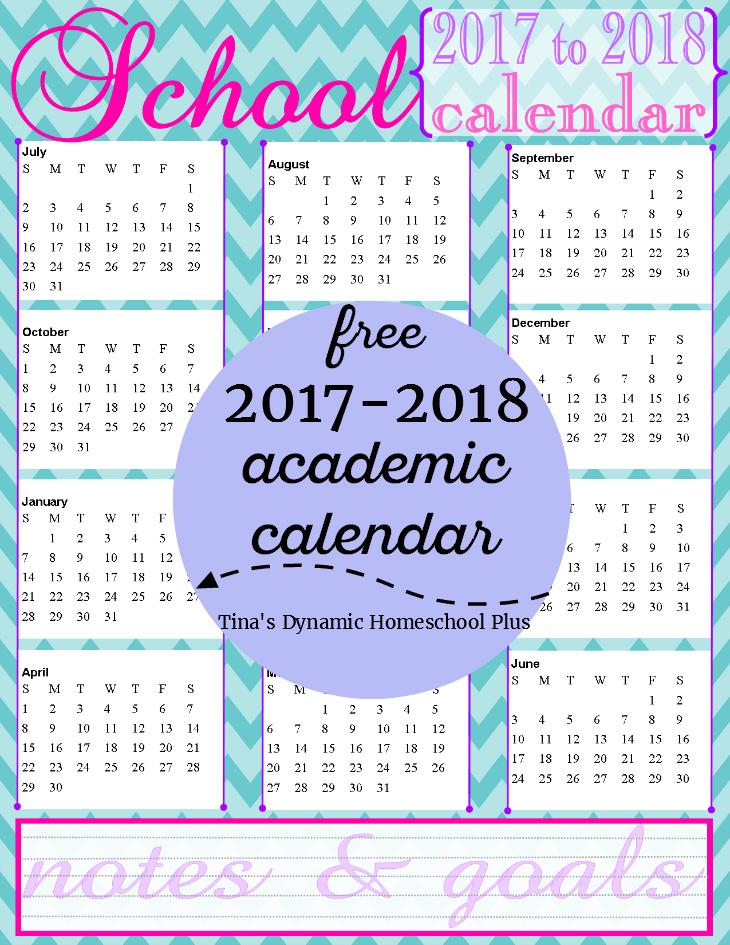 Free Homeschool Academic Year Calendar {2017 To 2018