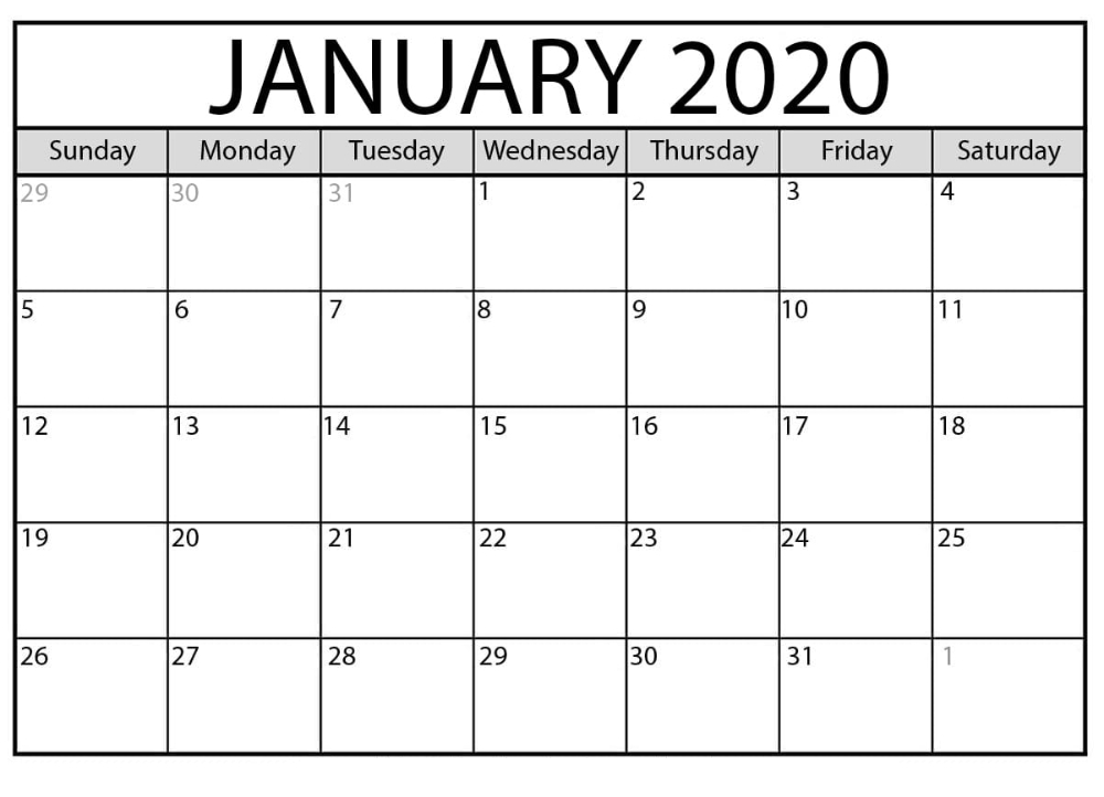 Free January 2020 Printable Calendar Editable Datesheet