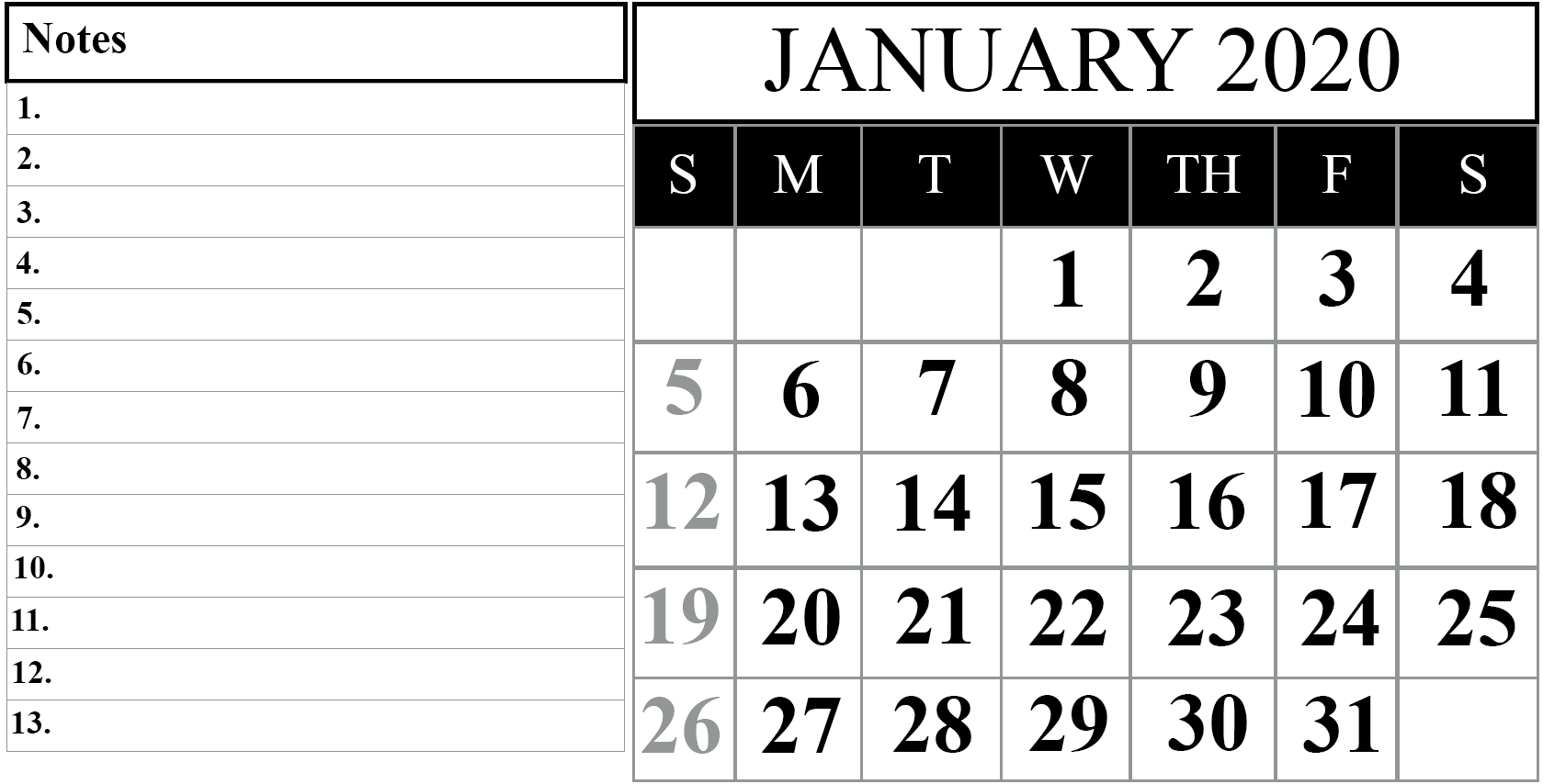 Free January 2020 Printable Calendar Template In Pdf, Word