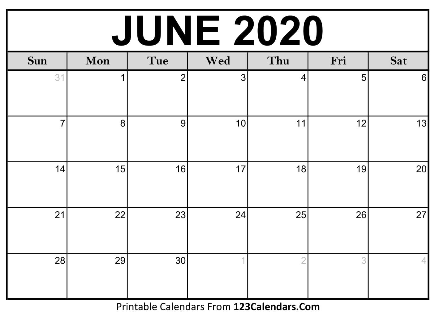 Free June 2020 Calendar | 123Calendars