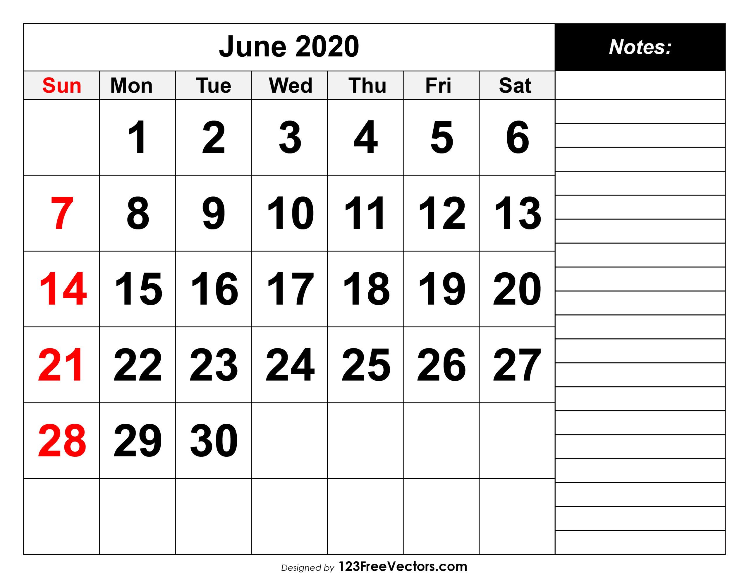 Free June 2020 Printable Calendar