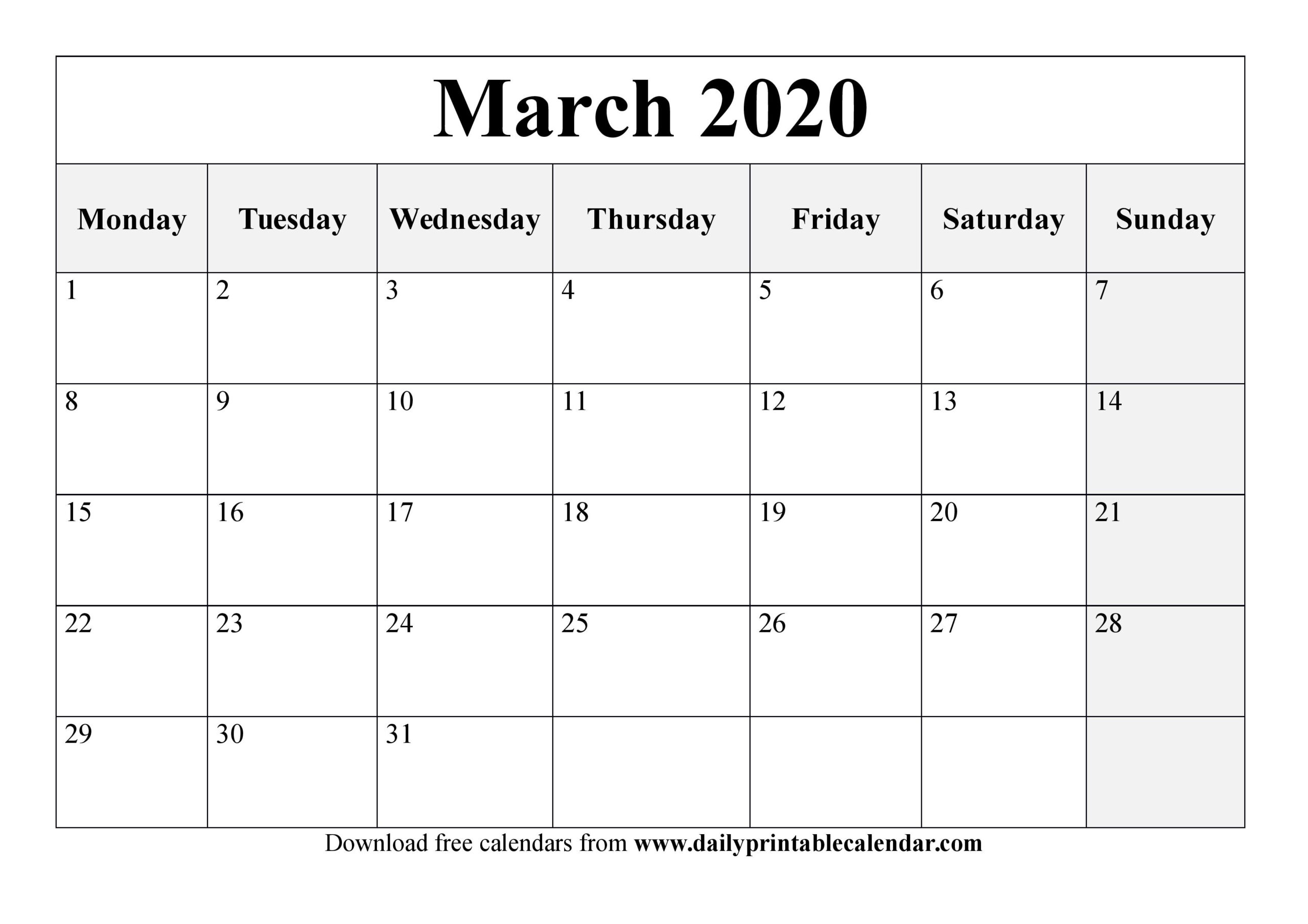 Free March 2020 Printable Calendar - Blank Templates