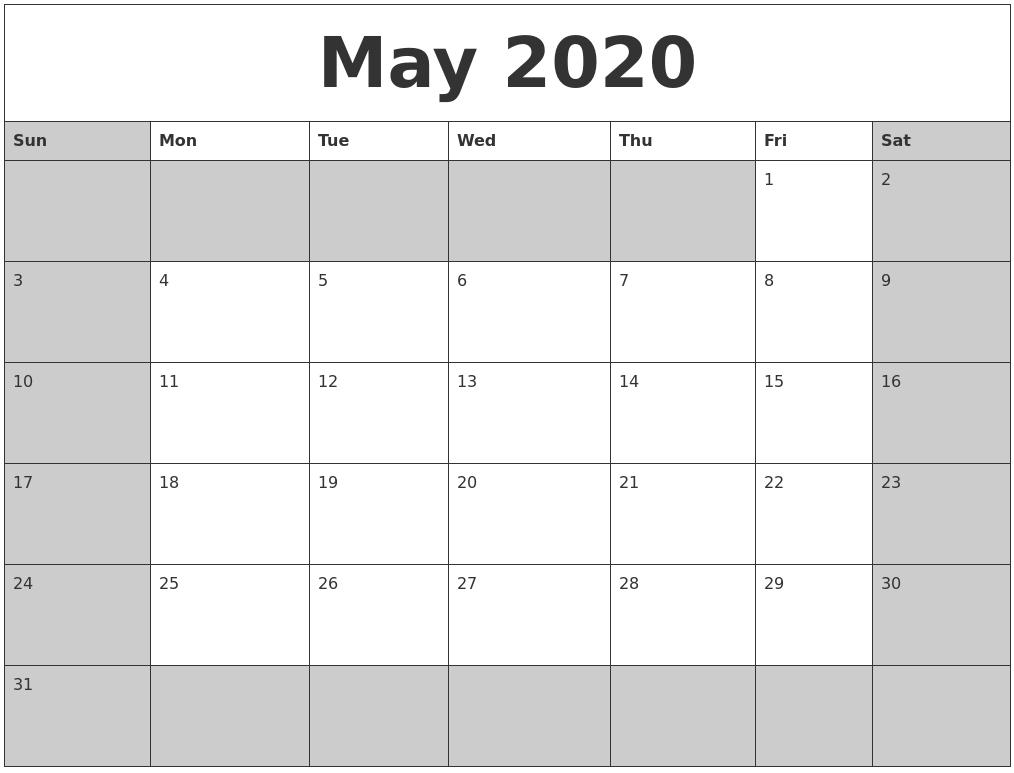 Free May 2020 Calendar Excel Format - One Platform For