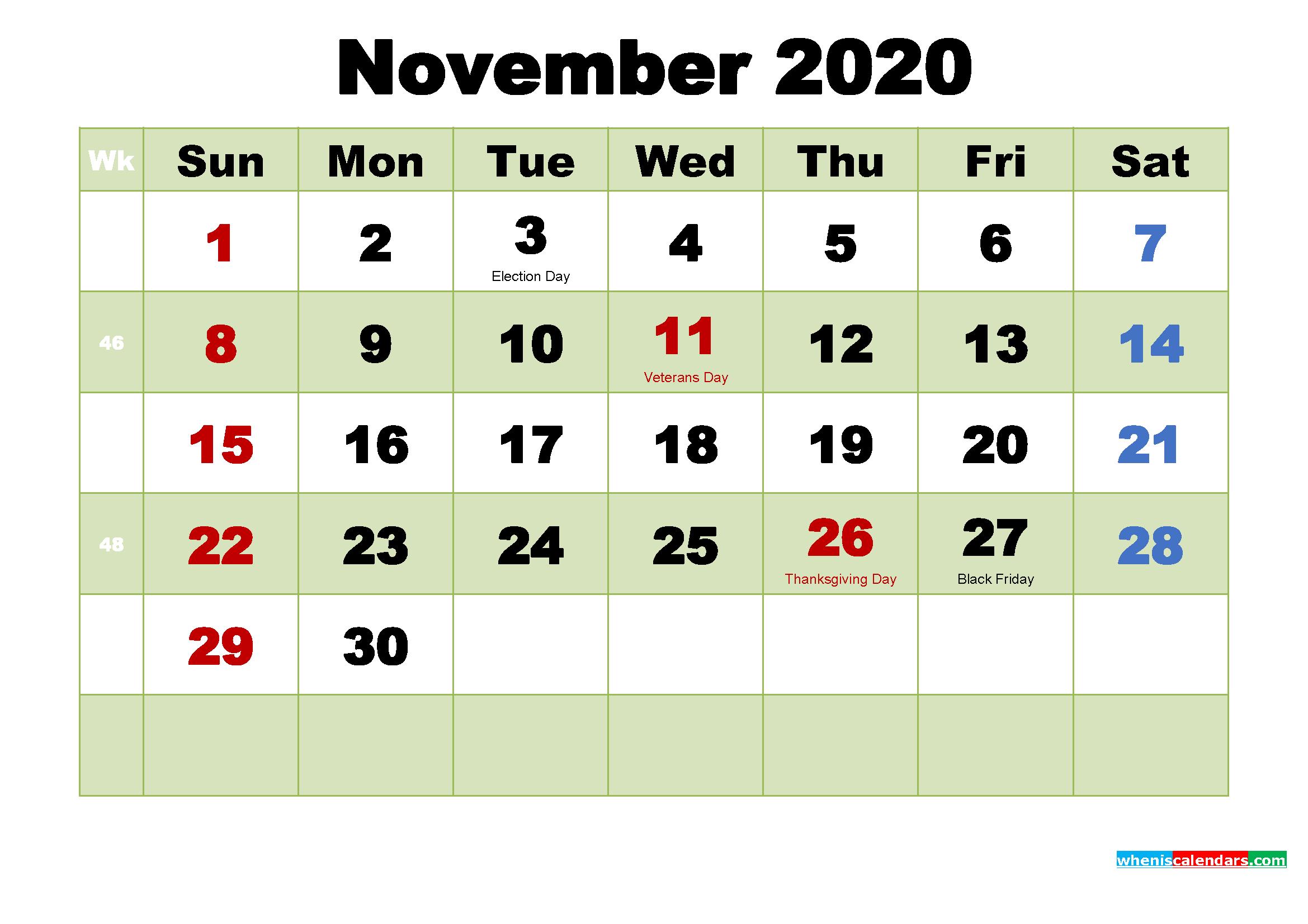 Free November 2020 Printable Calendar Template Word, Pdf
