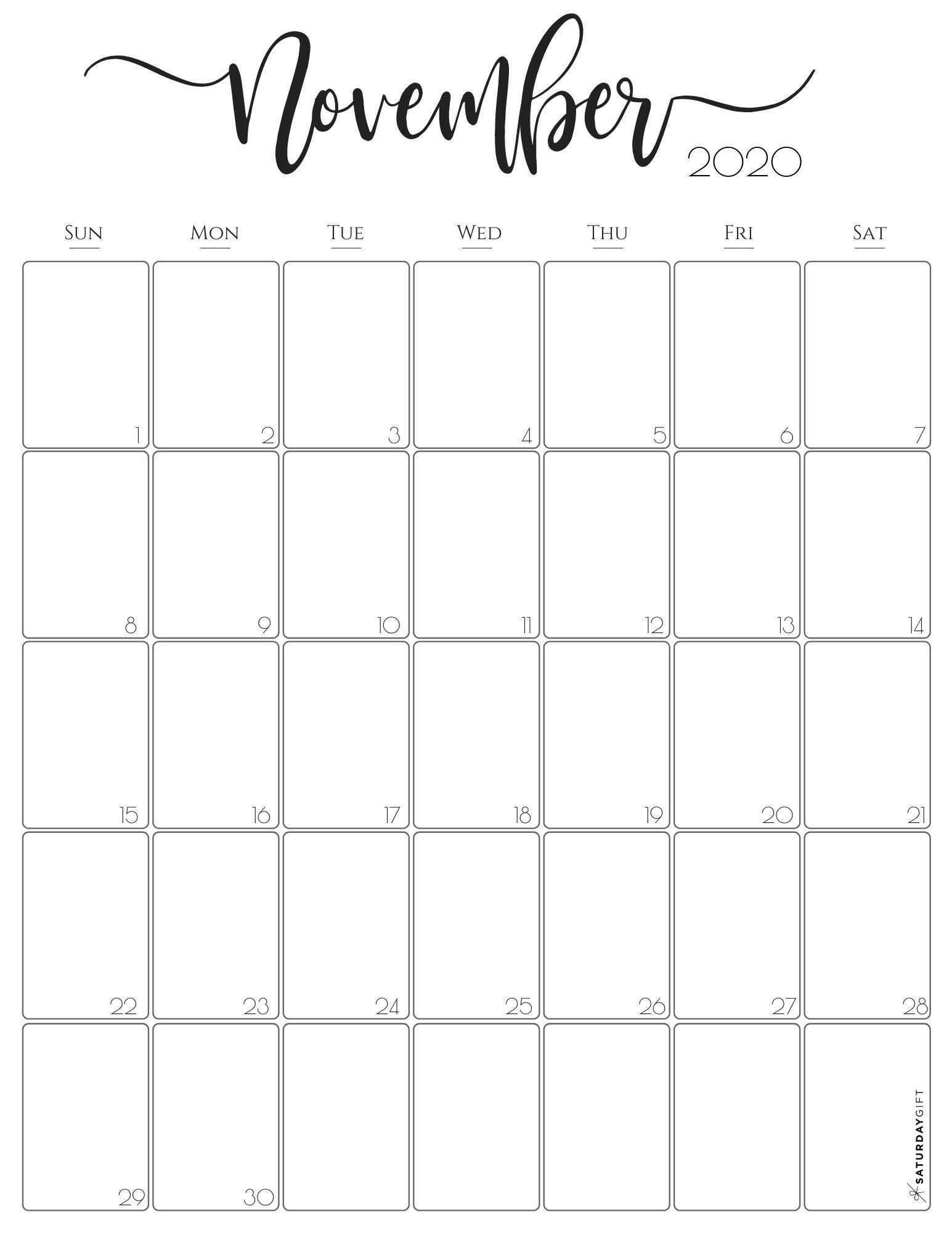 Free November 2020 Printable Calendar Templates