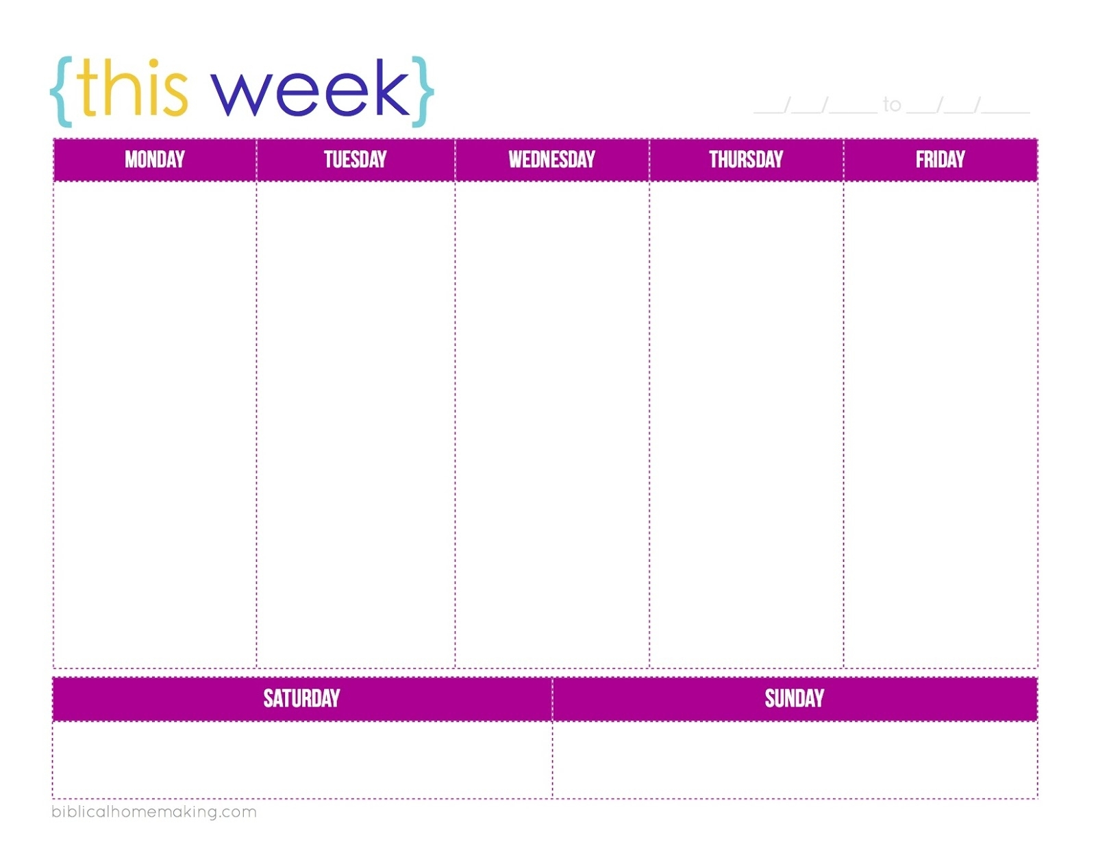Free Printable 1 Week Calendar | Ten Free Printable