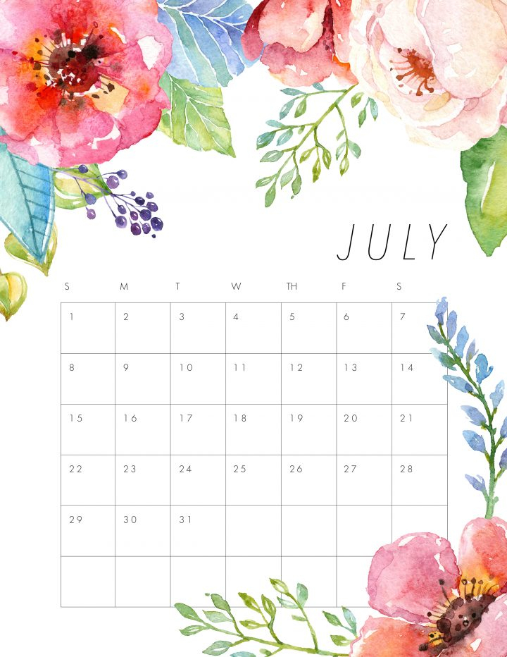 Free Printable 2018 Floral Calendar - The Cottage Market