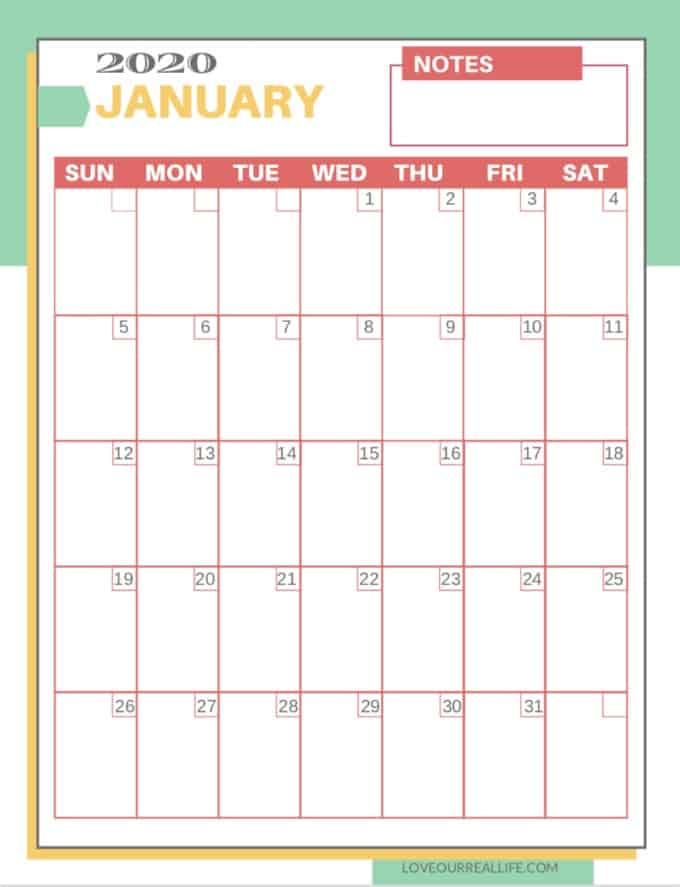 Free Printable 2020 Calendars ⋆ Love Our Real Life