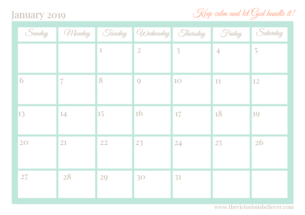 Free Printable 2020 Christian Calendar And Planner