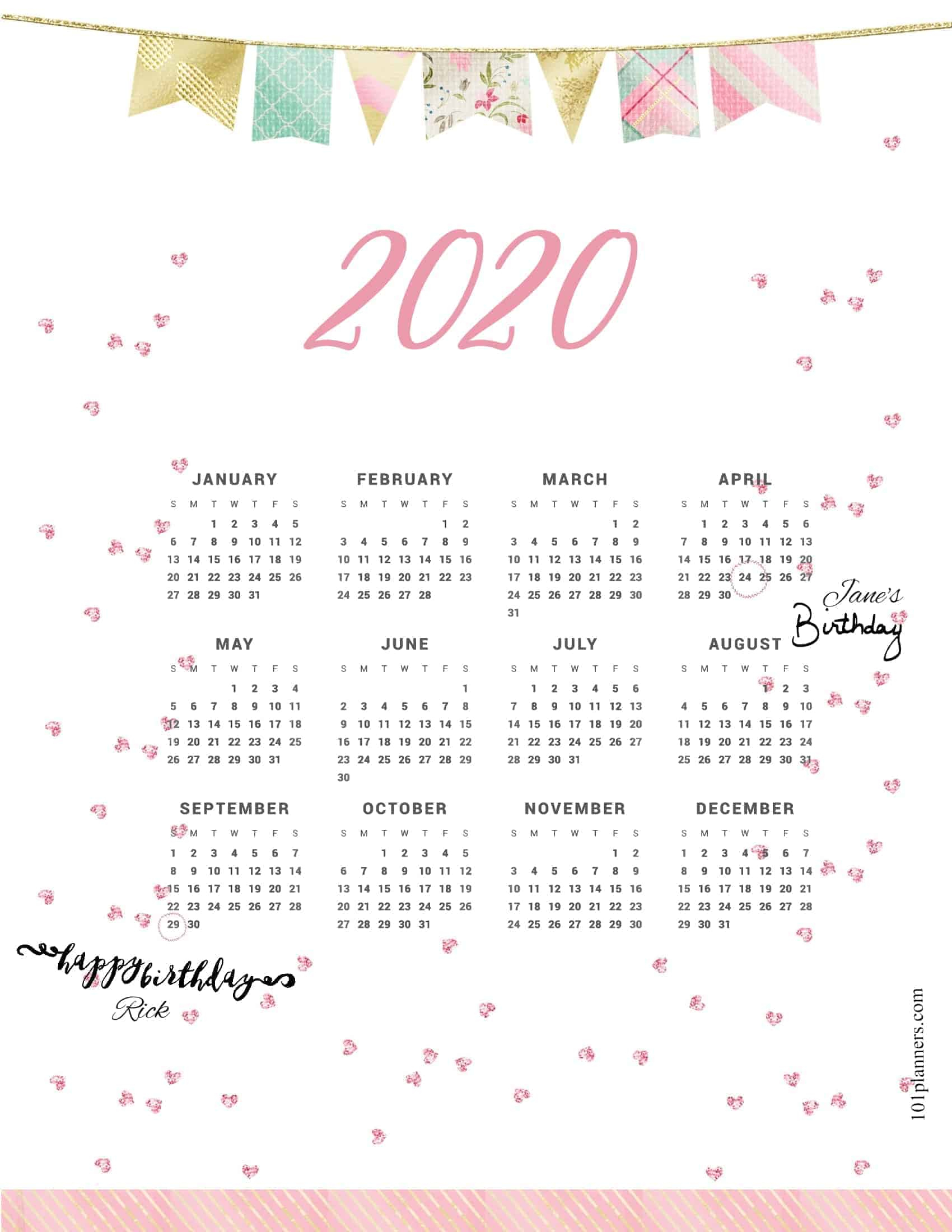 Free Printable 2020 Yearly Calendar At A Glance | 101
