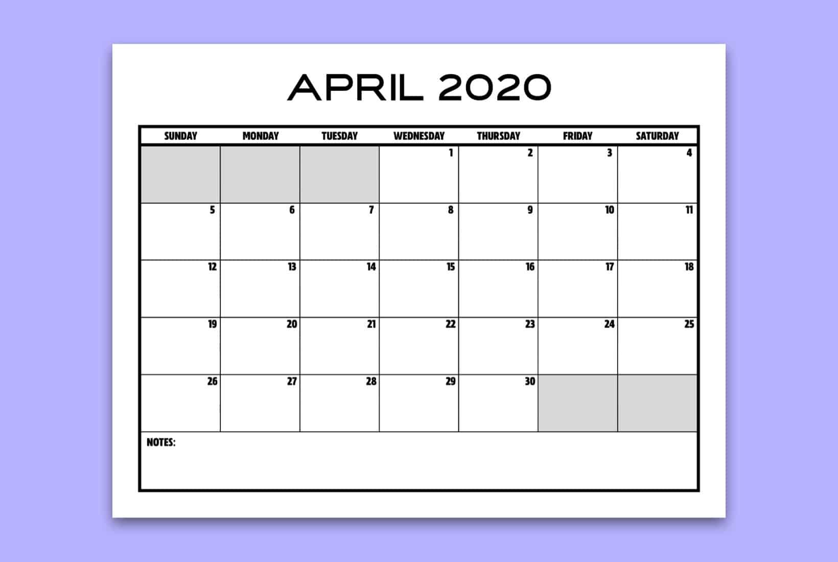 Free Printable Blank Calendar For 2020 - Crazy Laura