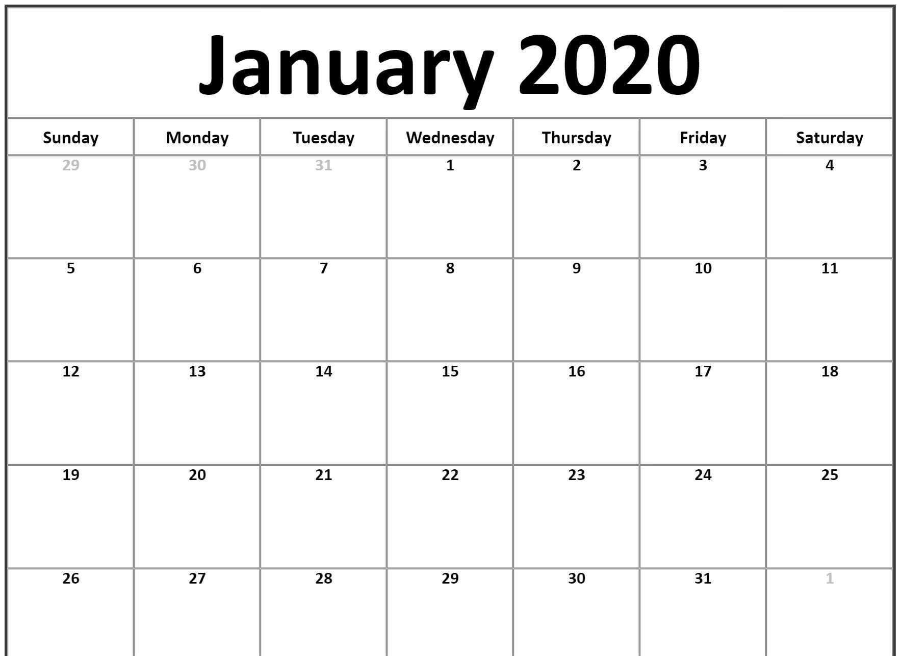 Free Printable Calendar Landscape 2020 | Calendar