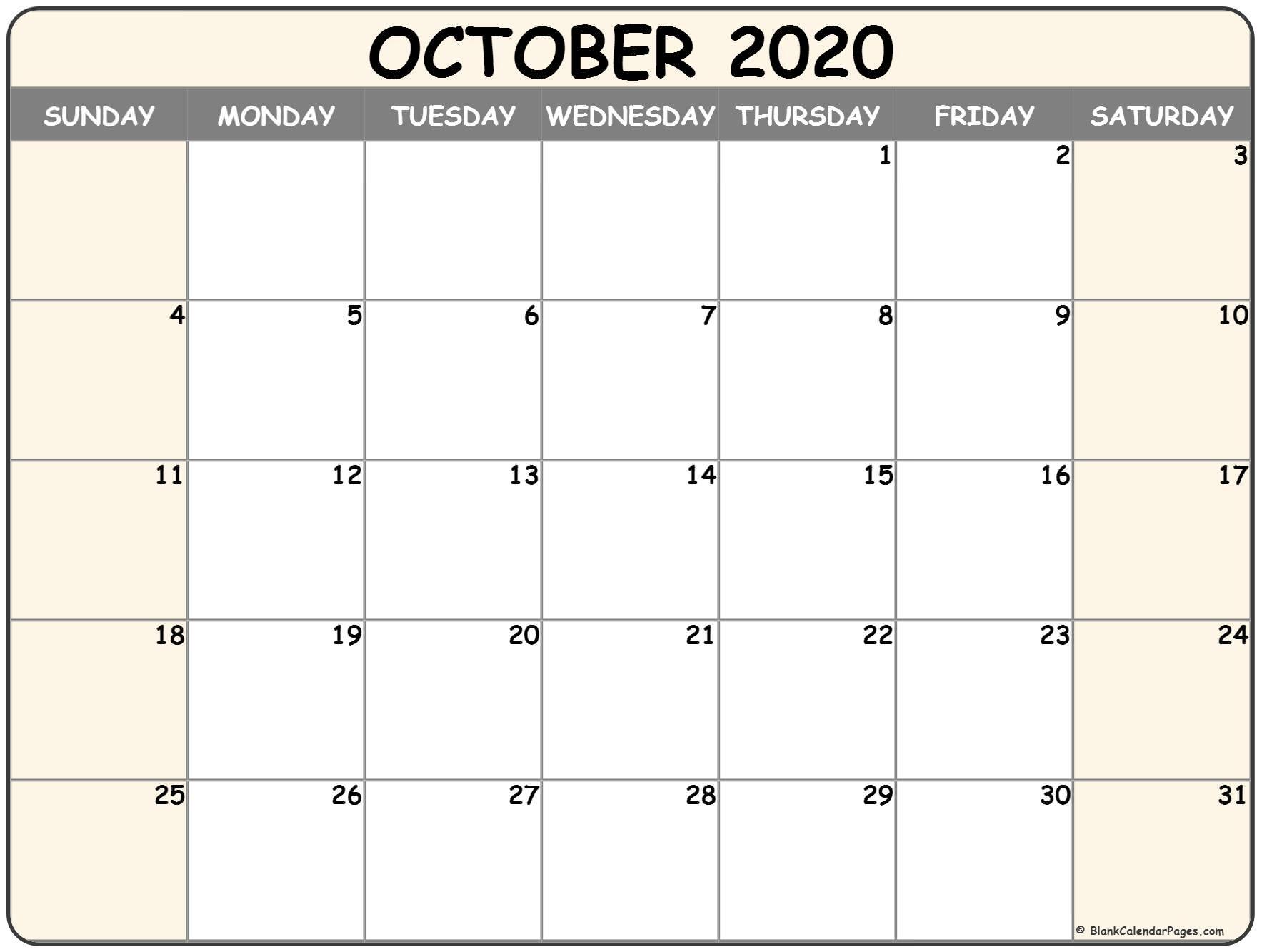 Free Printable Calendar October 2020 Landscape | Month