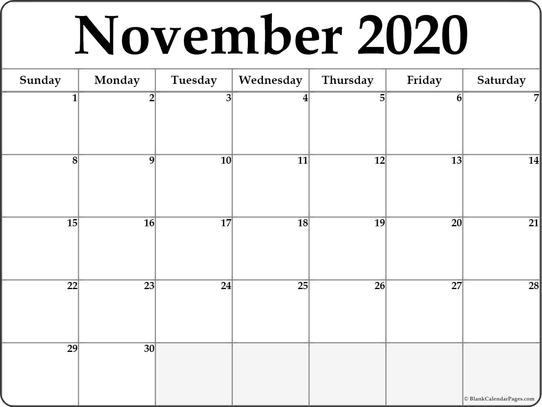 Free Printable Calendar Pages November 2020 | Month