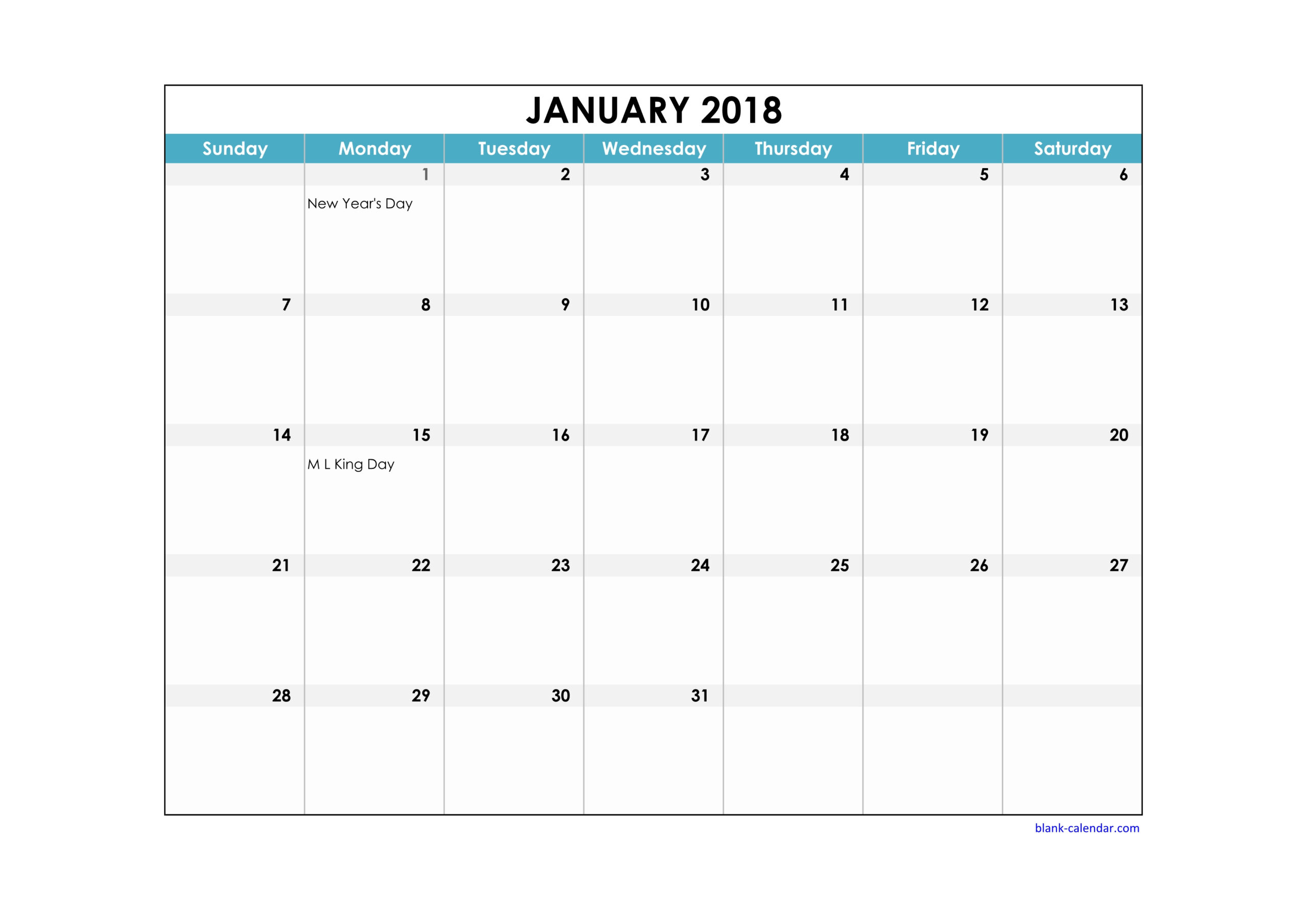 Free Printable Calendar With Large Boxes | Calendar