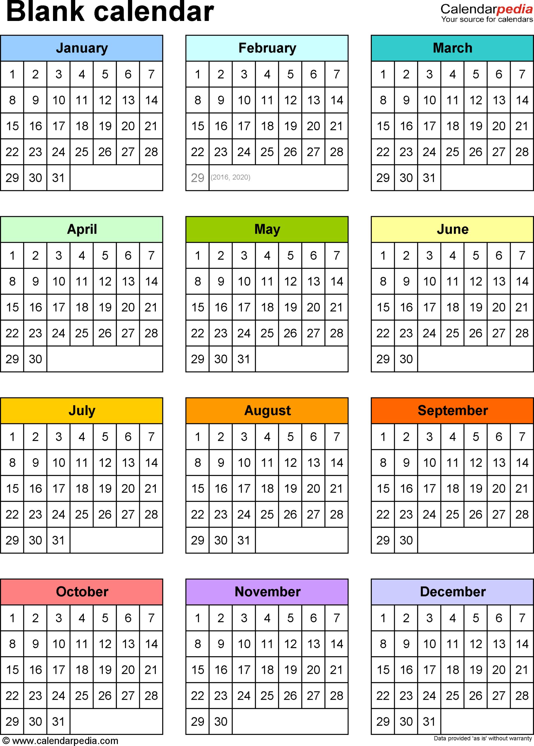 Free Printable Calendar Year At A Glance   Printable