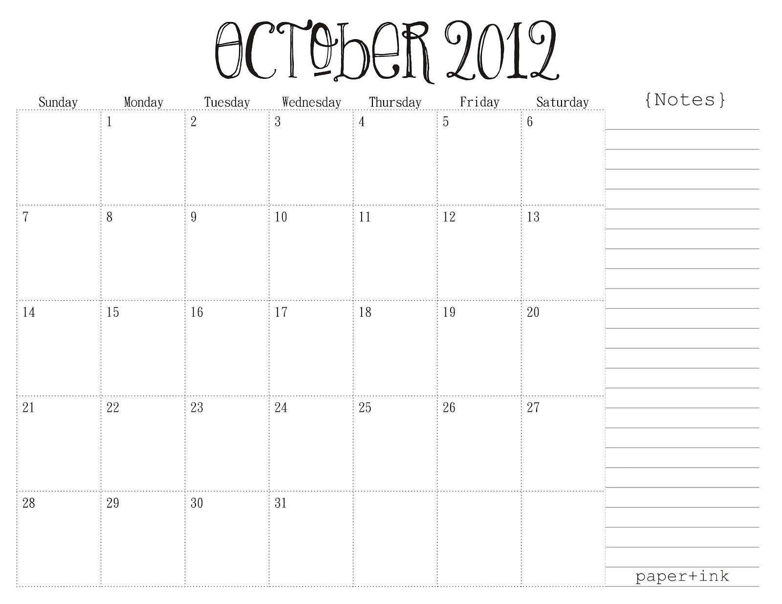 Free Printable Calendars - October 2012